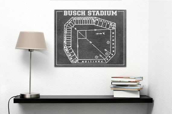 Print of Vintage Old Busch Stadium Seating Chart on Photo Paper, Matte paper or Canvas