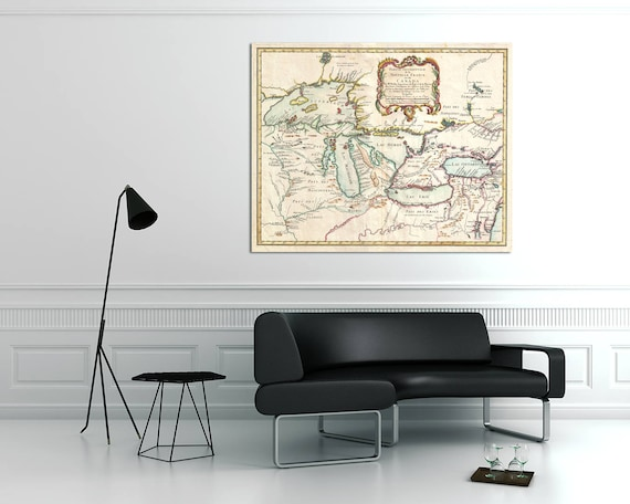 Antique French Map of the Great Lakes on Photo, Matte Paper or Canvas, Wall art Gift, wedding present