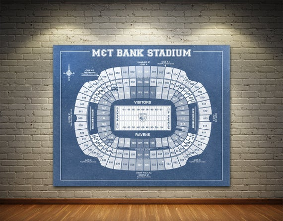 Print of Vintage M&T Bank Stadium Seating Chart Seating Chart on Photo Paper, Matte paper or Canvas