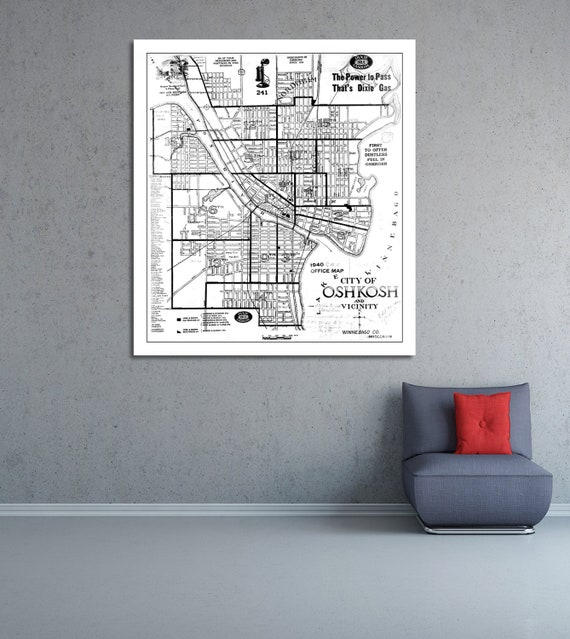 Print of Antique Map of City of Oshkosh and Vicinity Wisconsin on Photo Paper, Matte Paper or Stretched Canvas