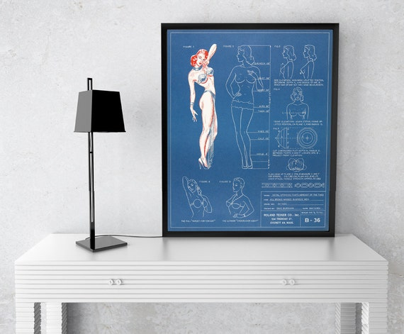 Vintage Blueprint of Lingerie on Photo Paper, Matte Paper and Stretched Canvas