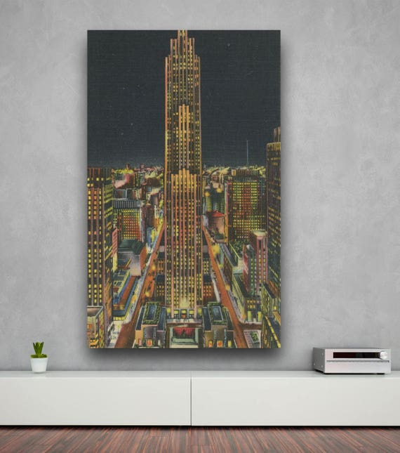 Antique Vintage Style Print of  Rockefeller Building, New York City on Photo Paper, Matte Paper or Stretched Canvas