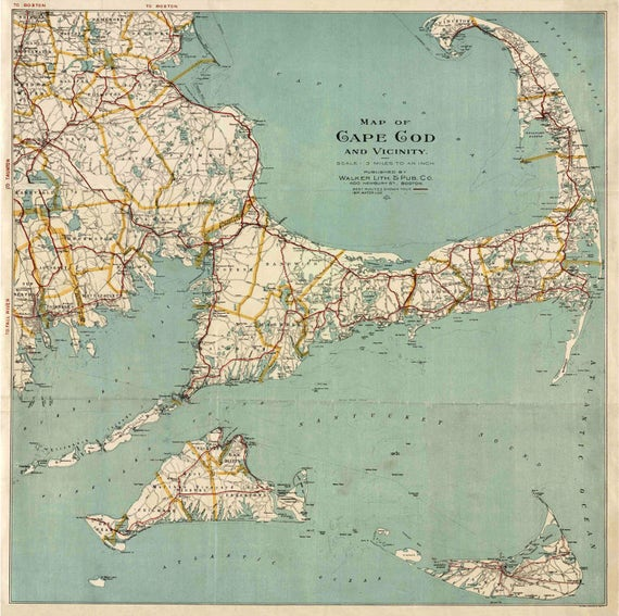 Print of Antique Vintage Cape Cod and Vicinity Map on Photo Paper, Matte Paper or Stretched Canvas