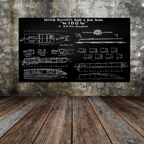 Print of Vintage WIDOW Boat Blueprint from Motor Boating's Build a Boat Series on Your Choice of Matte Paper, Photo Paper, or Canvas