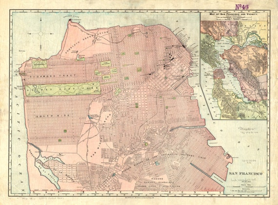 Print of Vintage San Francisco California Map on Photo Paper, Matte Paper, or Stretched Canvas