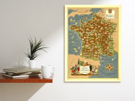 Vintage Antique Print of France, City of Lyon Map on Photo Paper Matte Paper Canvas Giclee