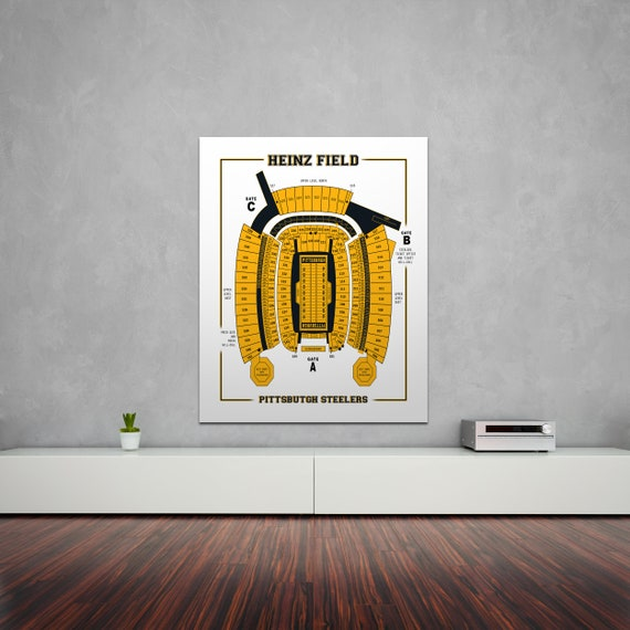 Print of Vintage Heinz Field Seating Chart Seating Chart on Photo Paper, Matte paper or Canvas