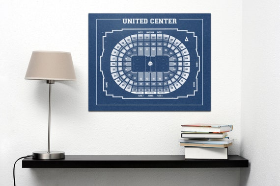 Vintage Chicago Blackhawks United Center Diagram on Photo Paper, Matte paper or Canvas Sports Stadium Tickets Art Home Decor Line Drawing