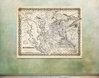 Print of Antique Map of Minnesota on Matte Paper, Photo Paper, or Stretched Canvas. Free Shipping!