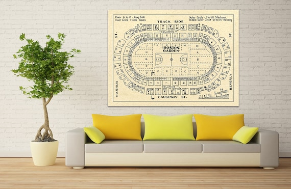 Vintage Print of Boston Garden Basketball Seating Chart on Photo Paper, Matte Paper, or Canvas