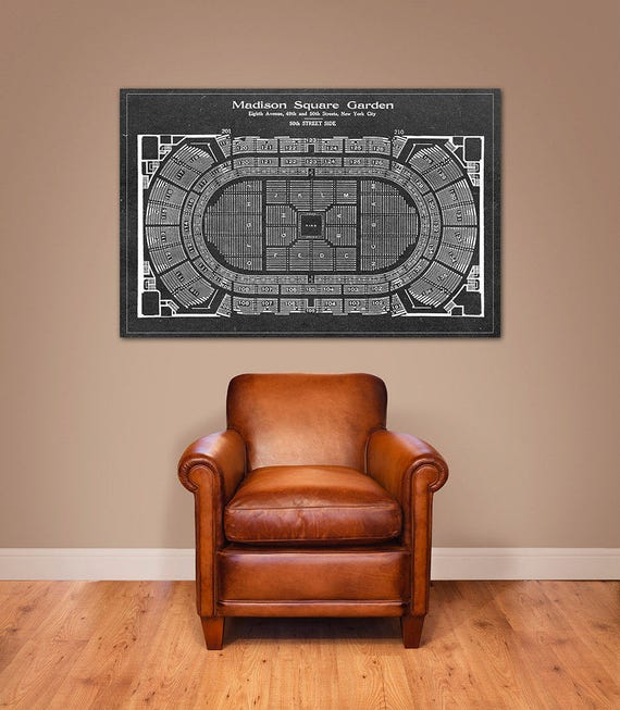 Print of Vintage Madison Square Garden Wrestling Seating Chart Seating Chart on Photo Paper, Matte paper or Canvas