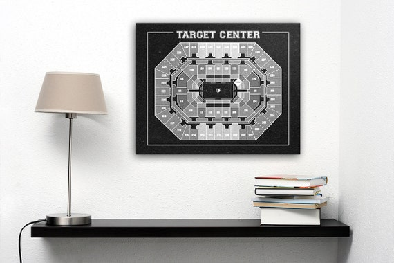Vintage Print of Target Center Seating Chart on Premium Photo Luster Paper Heavy Matte Paper, or Stretched Canvas. Free Shipping!
