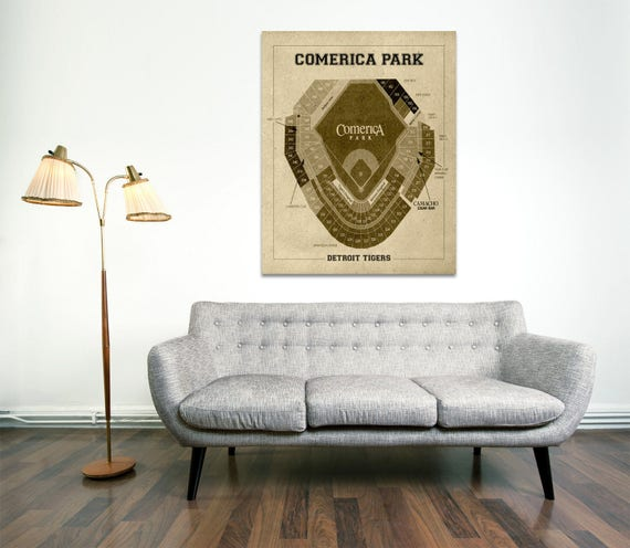 Vintage Print of Comerica Park Stadium Seating Chart Baseball Blueprint on Photo Paper, Matte Paper or Stretched Canvas