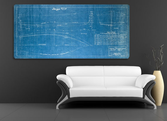 Vintage 1940 V Bottom Fisherman Boat Blueprint Design on CANVAS Nautical Theme Wall Hanging Art Home Decor Ocean Line Drawing Rare