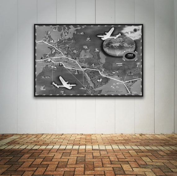 Vintage Antique Trans World Airline: Europe, Africa, Asia Print on Photo Paper Matte Paper Canvas Art Giclee