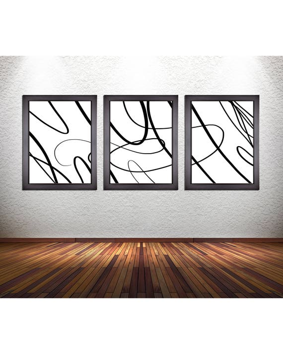 3 Piece Set of Minimalism Abstract Line Art Prints on Premium Photo Paper, Canvas, or 300 GSM Heavy Matte Paper