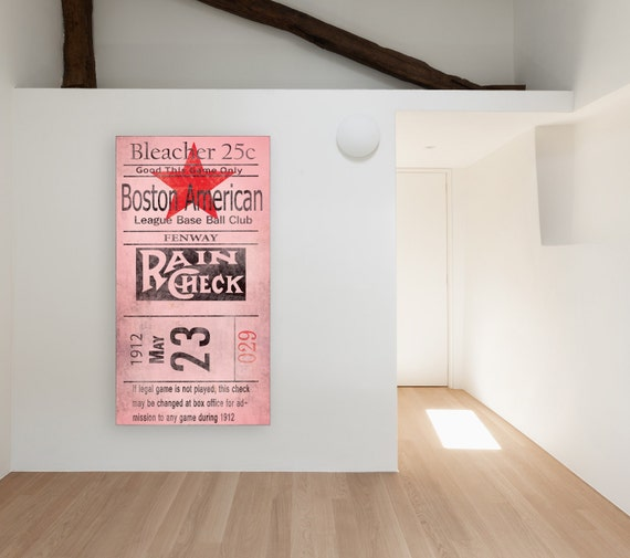 Vintage 1912 FENWAY Boston Red Sox American Baseball Clude Bleacher Ticket Print on Photo Paper, Matte Paper or Stretched Canvas
