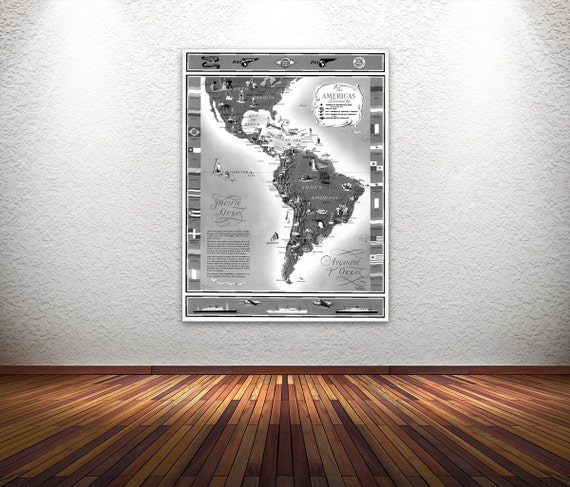 Vintage Antique Print of PAA the Americas on Photo Paper Matte Paper Canvas Giclee