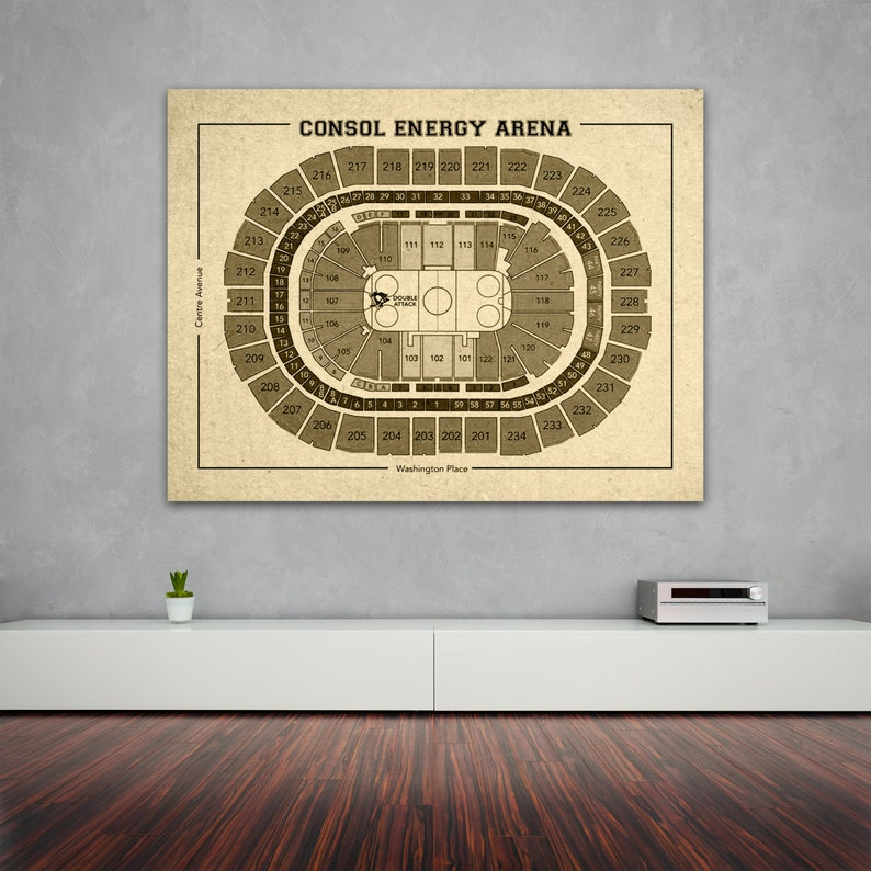 new concept 8157b 28dbf Vintage Consol Energy Arena Pittsburgh Penguins on Photo Paper, Matte paper  or Canvas Sports Stadium Tickets Art Home Decor Line Drawing