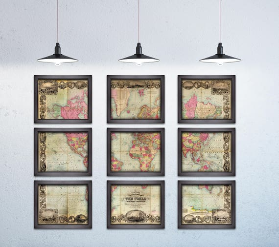 6 and 9 Panel Vintage Print of World Map on Matte Paper, Photo Paper, or Stretched Canvas