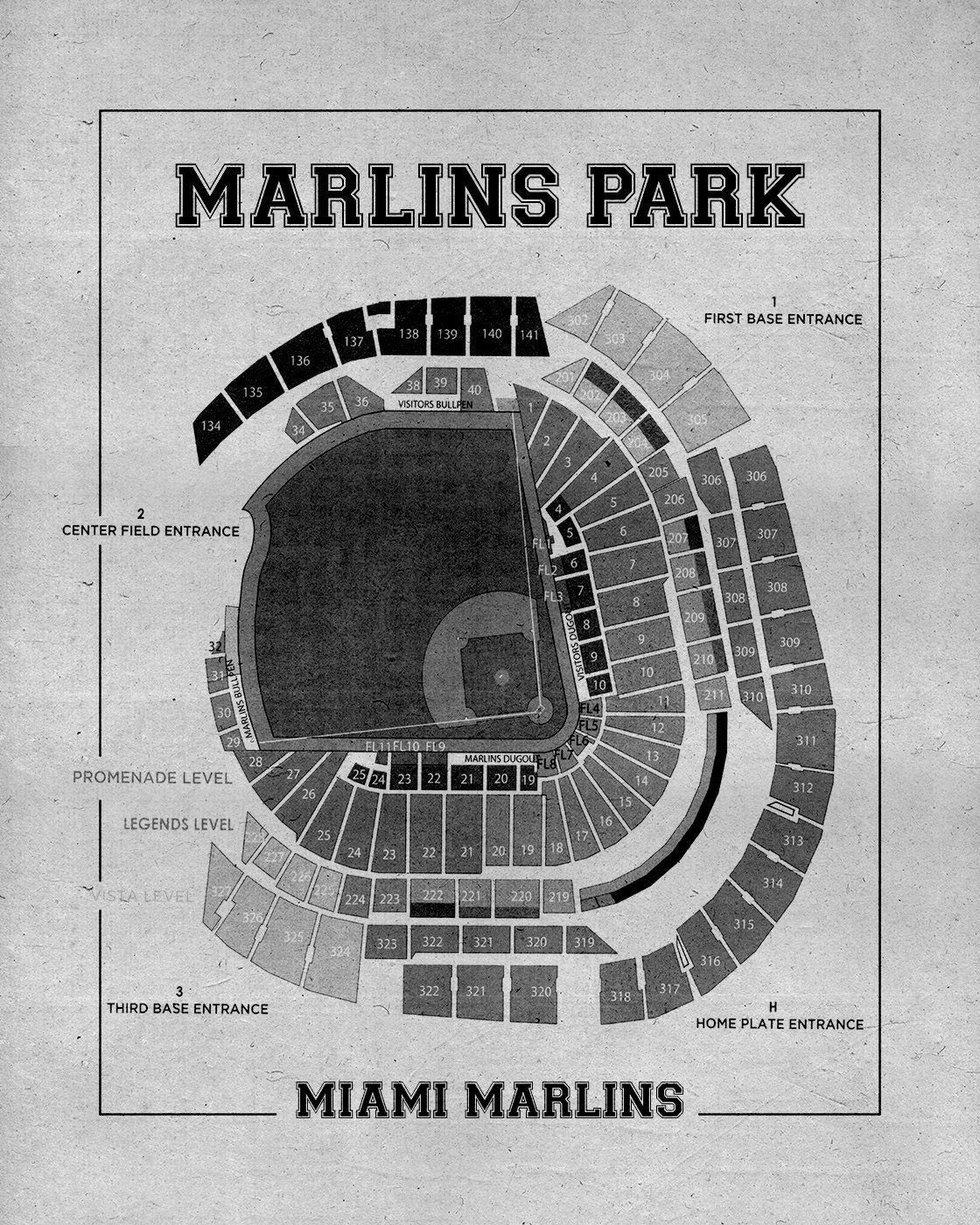 Vintage print of marlins park seating chart miami marlins baseball vintage print of marlins park seating chart miami marlins baseball blueprint on photo paper matte paper or stretched canvas malvernweather Images