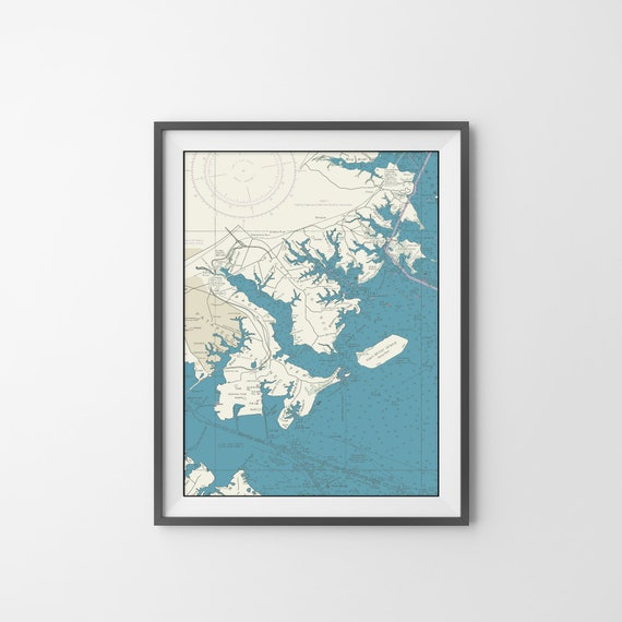 Print of Nautical Chart of Middle River in Chesapeake Bay, Maryland. Printed on Canvas, Heavyweight Matter Paper, or Photo Paper.