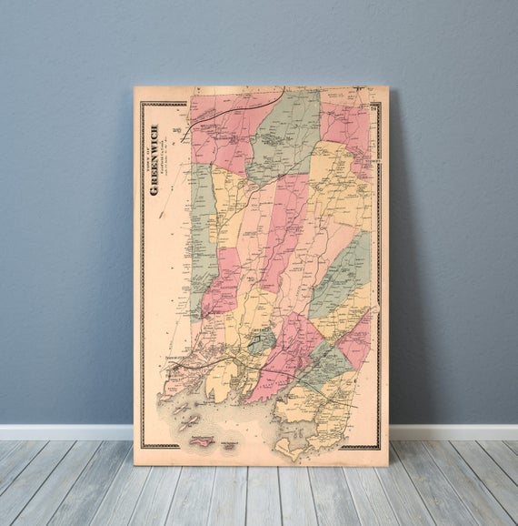 Print of Antique Map of Greenwich, Connecticut on Matte Paper, Photo Paper, or Stretched Canvas. Free Shipping!