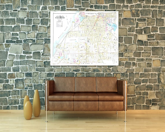 Print of Antique Map Featuring Part of Fall River Plate 2, Massachusetts, Bristol County on Photo Paper, Matte Paper or Stretched Canvas