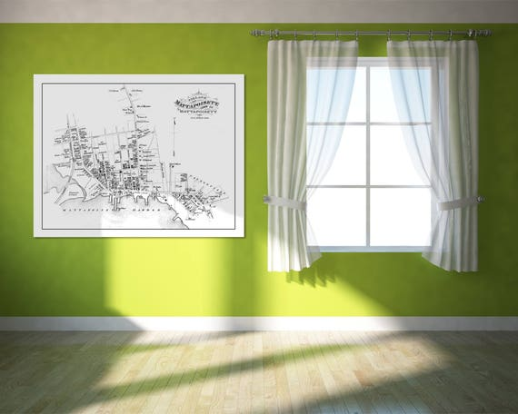 Vintage Print of Mattapoisett Village Map on Matte Paper, Photo Paper, or Stretched Canvas. Free shipping on every item!