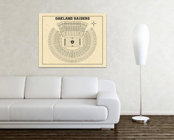 Vintage Style Print of Oakland Coliseum Seating Chart on Photo Paper, Matte Paper, or Stretched Canvas