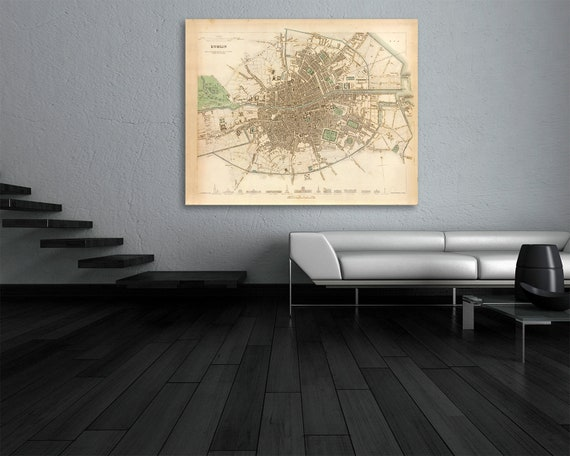 Print of Antique Map of Dublin Ireland on Photo Paper, Matte Paper or Stretched Canvas