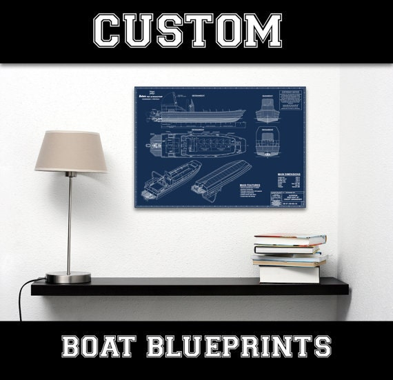 Your Custom Boat Diagram Blueprint Line Drawing Schematic Motor Build A Boat Series Ship Nautical NOAA Plan Art Giclee