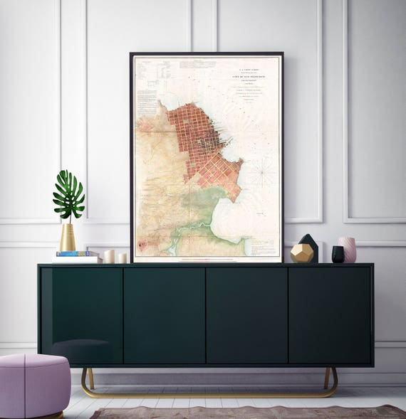 Print of Vintage Map of San Francisco Bay on Photo Paper, Matte Paper and Stretched Canvas