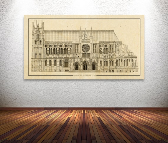 Antique Print of Chartes Cathedral Elevation on your choice of color and Photo Paper, Matte Paper or Canvas Giclee.