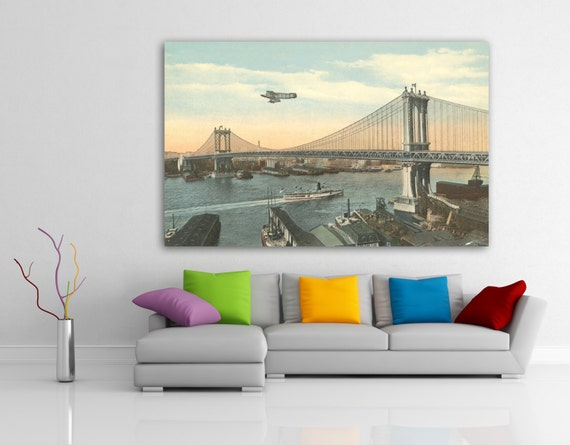 Antique vintage style Photo of Manhattan Bridge Photo Paper, Matte Paper or Stretched Canvas