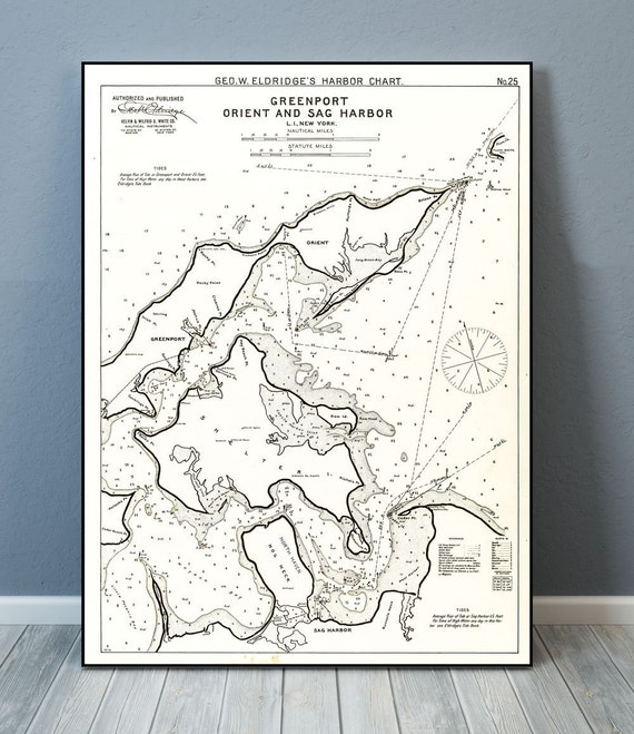 Antique Print of a Greenport Orient & Sag Harbor Long Island, NY Nautical Chart on your choice of Photo Paper, Matte Paper or Canvas Giclee