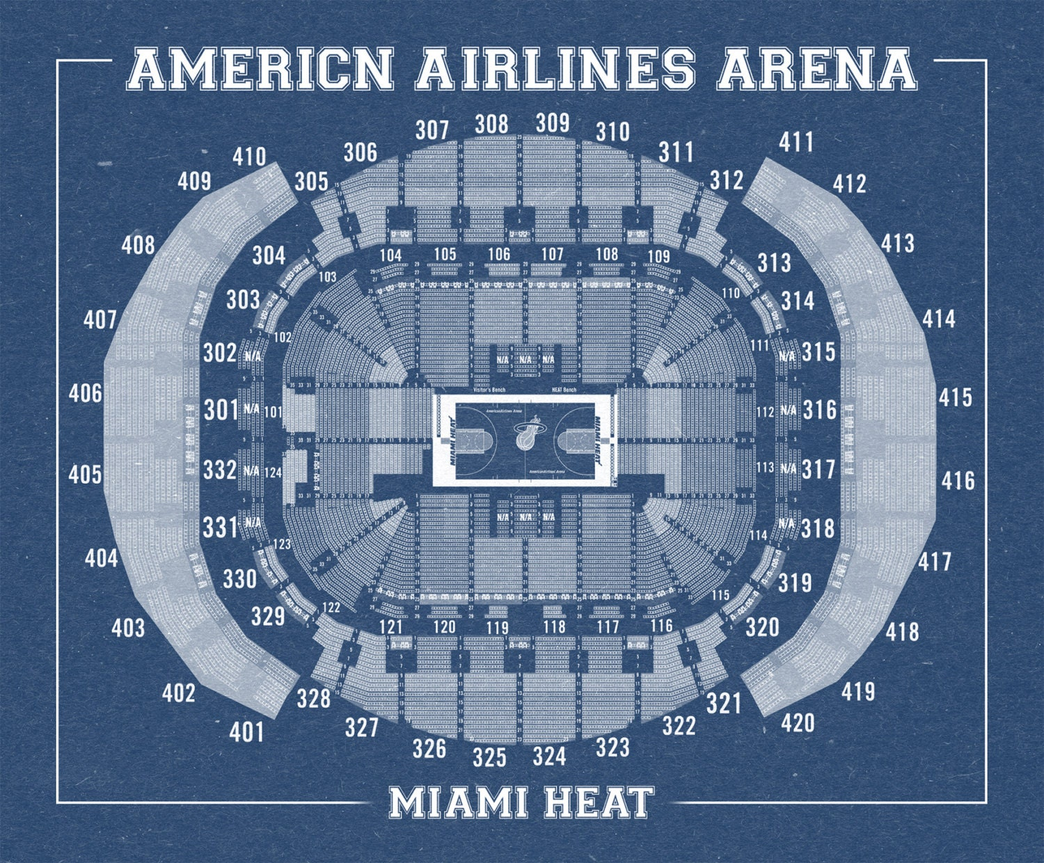 vintage print of american airlines arena seating chart on
