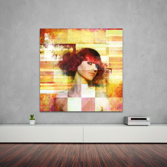Print of Modern Art Pattern Collage with Female Portrait. Available on Photo Paper, Matte Paper, and Canvas, Free Shipping!
