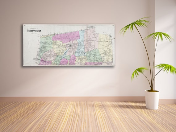 Print of Antique Map of Hempstead, Long Island on Photo Paper Matte Paper or Stretched Canvas