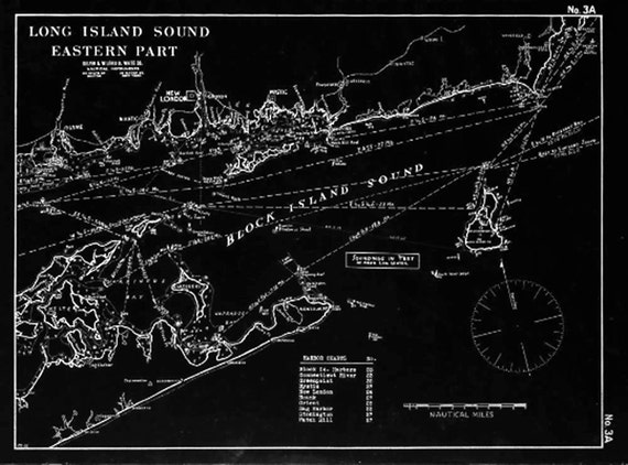 Vintage Antique Print of a Long Island Sound Eastern Part nautical chart on your choice of Photo Paper Matte Paper or Canvas Giclee