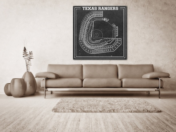 Print of Vintage Globe Life Park Seating Chart Seating Chart on Photo Paper, Matte paper or Canvas