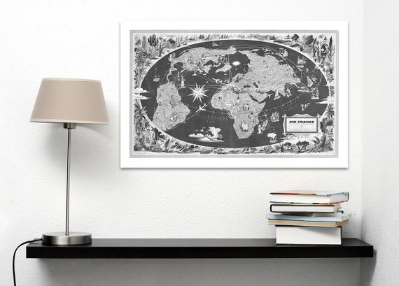Vintage Antique Global Air France World Map Airline Plane on photo paper Matte paper Canvas Art Home Decor Giclee Print