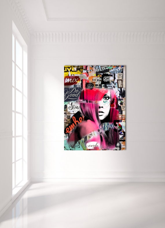 Print of mixed media abstract collage painting with portrait and textures on canvas photo paper or matte paper, free shipping!