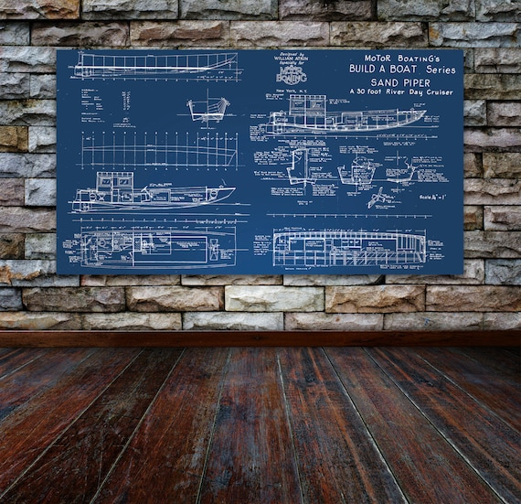 Print of Vintage SAND PIPER Boat Blueprint from Motor Boating's Build a Boat Series on Your Choice of Matte Paper, Photo Paper, or Canvas