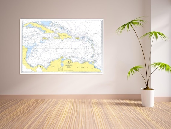 Print of High Quality Caribbean Sea Map on Your Choice of Photo Paper, Matte Paper, or Stretched Canvas