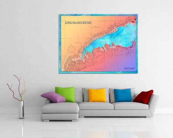 Artistic Print of Long Island Sound West Part Chart on your choice of Photo Paper, Matte Paper or Canvas Giclee