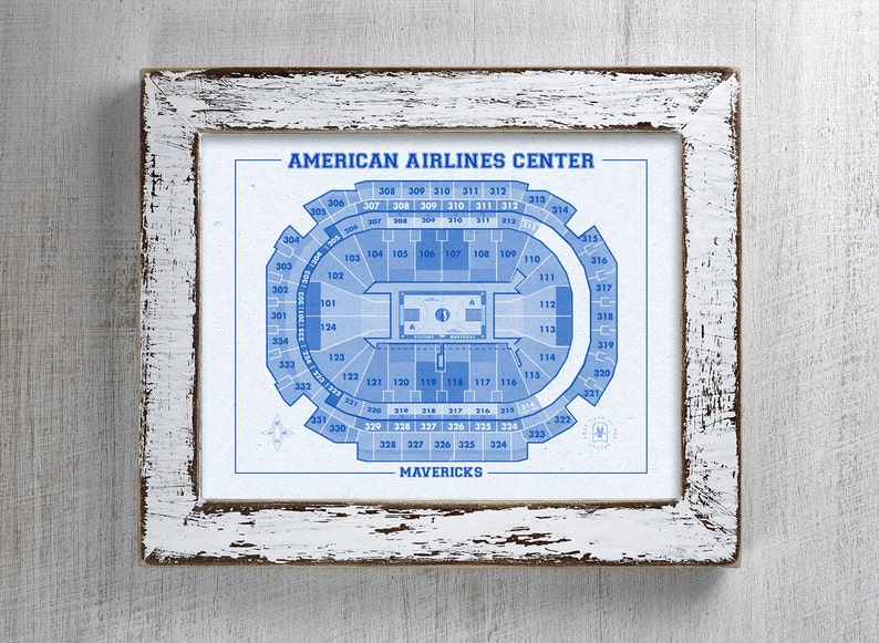 Vintage Print Of American Airlines Center Seating Chart On Premium Photo Luster Paper Heavy Matte Paper Or Stretched Canvas Free Shipping