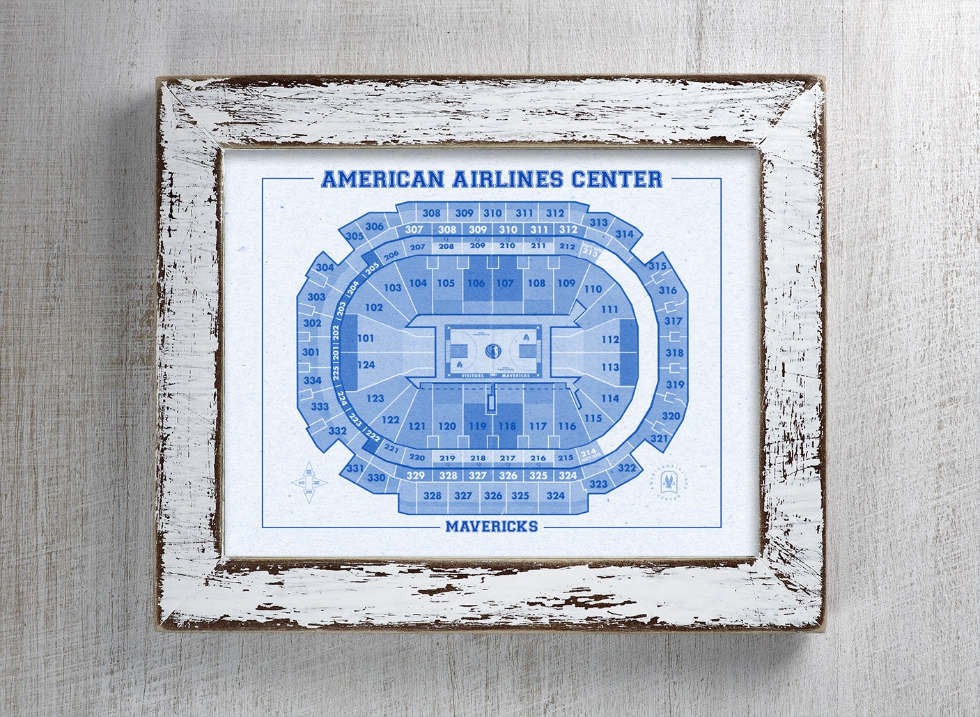Vintage Print Of American Airlines Center Seating Chart On