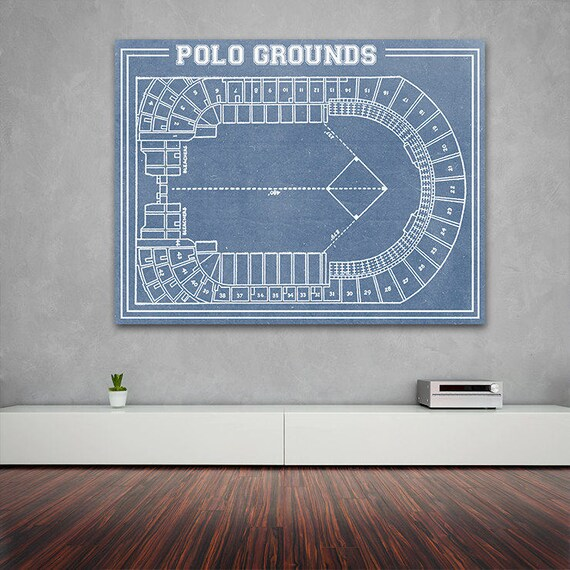 Vintage Print of Polo Grounds Seating Chart New York Giants Baseball Blueprint on Photo Paper, Matte Paper or Stretched Canvas