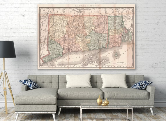 Vintage Print of Rhode Island and Connecticut Map on Your Choice of Matte Paper, Photo Paper or Stretched Canvas